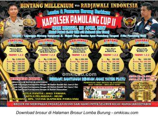 Brosur Lomba Burung Berkicau Kapolsek Pamulang Cup II, Tangerang Selatan, 30 April 2017