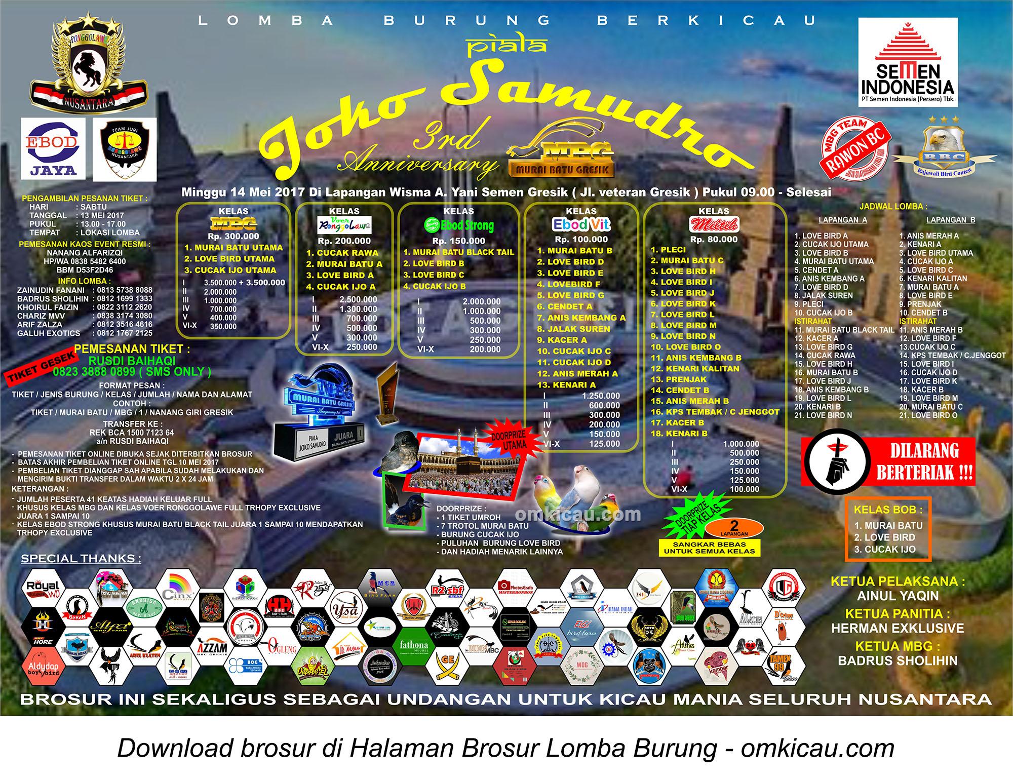 Brosur Lomba Burung Berkicau Piala Joko Samudro, Gresik, 14 Mei 2017
