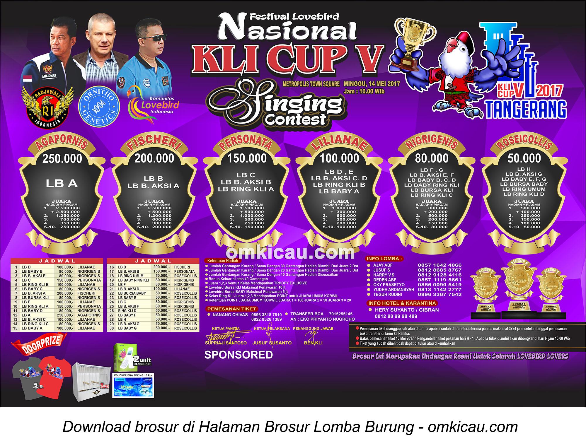 Brosur Lomba Burung Berkicau - Singing Contest KLI Cup V, Tangerang, 14 Mei 2017