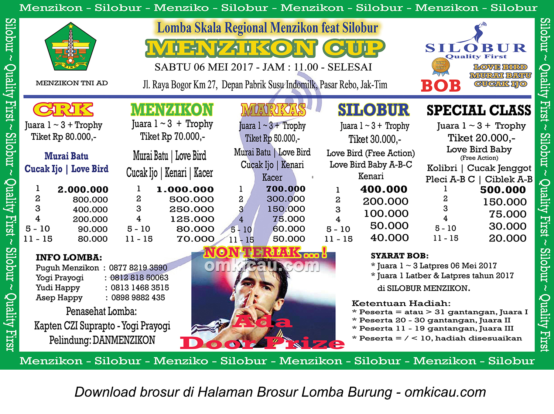 Brosur Lomba Burung berkicau Menzikon Cup feat Silobur, Jakarta Timur, 6 Mei 2017