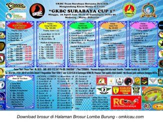 Brosur Terbaru Lomba Burung Berkicau GKBC Surabaya Cup 1, Sidoarjo, 16 April 2017
