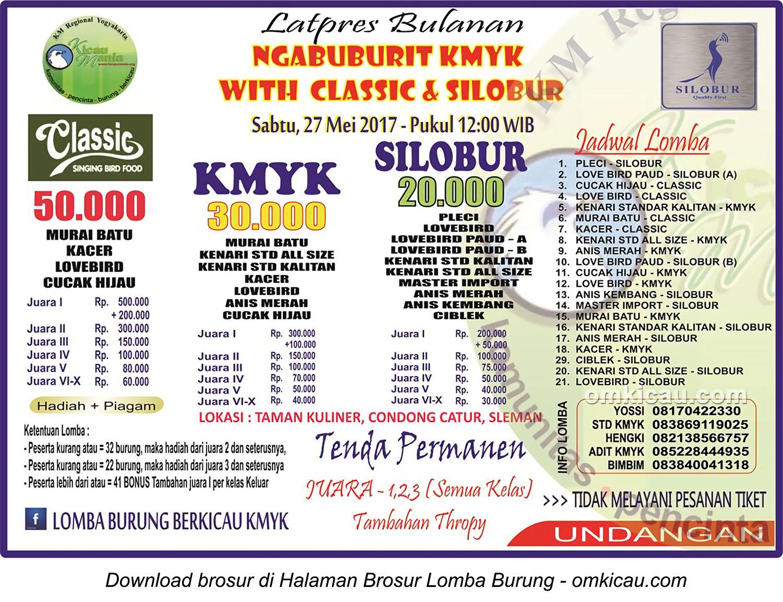 Brosur Latpres Bulanan Ngabuburit KMYK with Classic & Silobur, Jogja, 27 Mei 2017