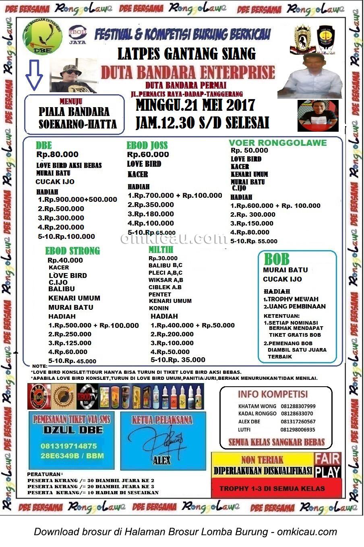 Brosur Latpres Burung Berkicau Duta Bandara Enterprise, Tangerang, 21 Mei 2017