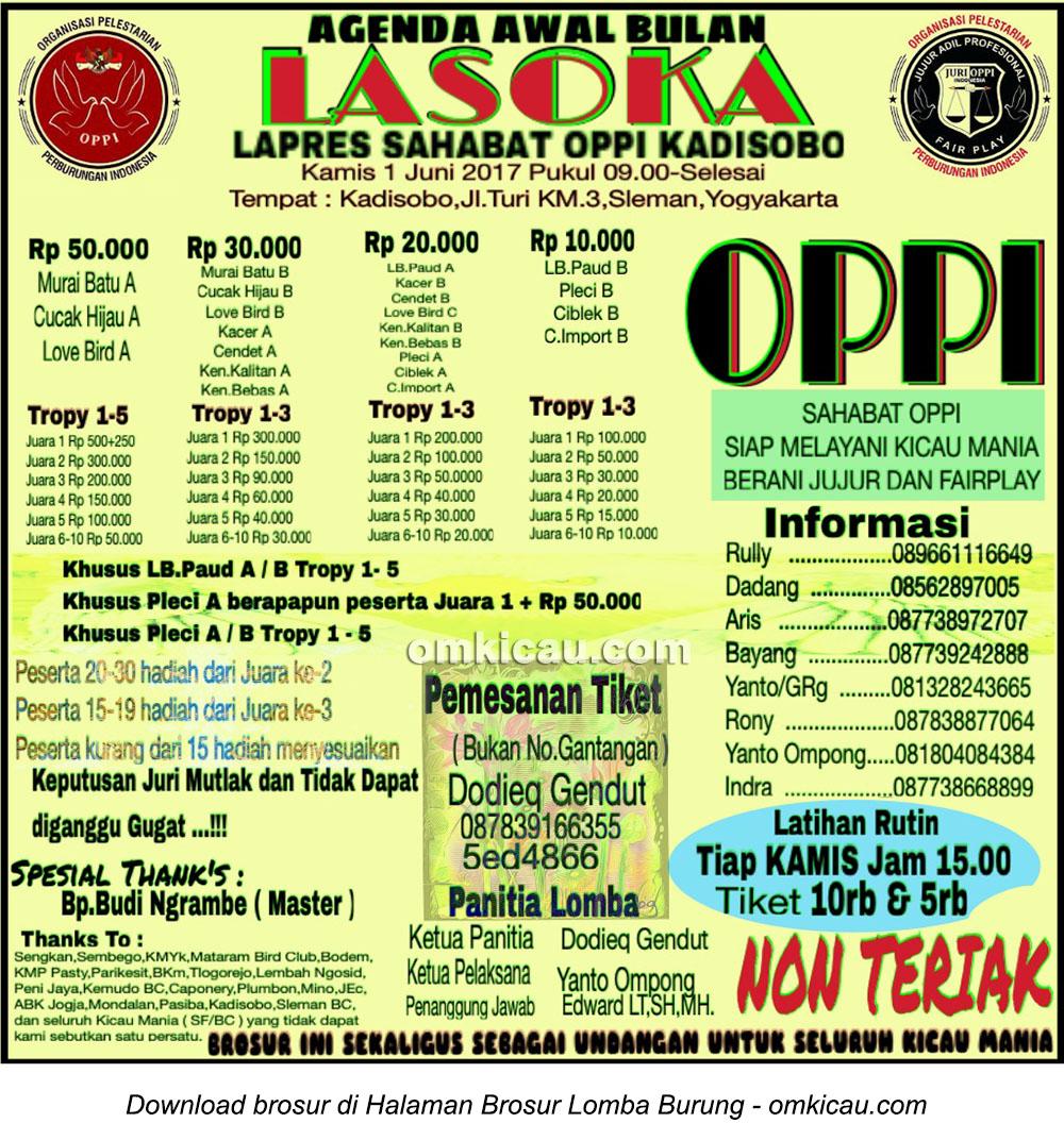Brosur Latpres Sahabat OPPI Kadisobo, Sleman, 1 Juni 2017