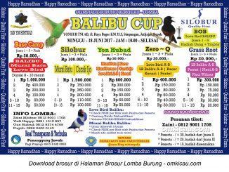 Brosur Lomba Burung Berkicau Balibu Cup, Depok, 18 Juni 2017