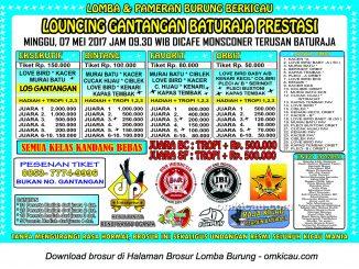 Brosur Lomba Burung Berkicau Launching Gantangan Baturaja Prestasi, Baturaja, 7 Mei 2017