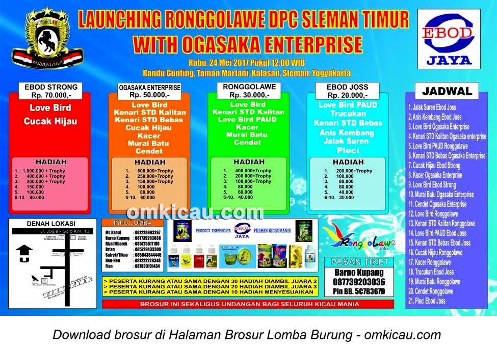 Brosur Lomba Burung Berkicau Launching Ronggolawe DPC Sleman Timur, Sleman, 24 Mei 2017