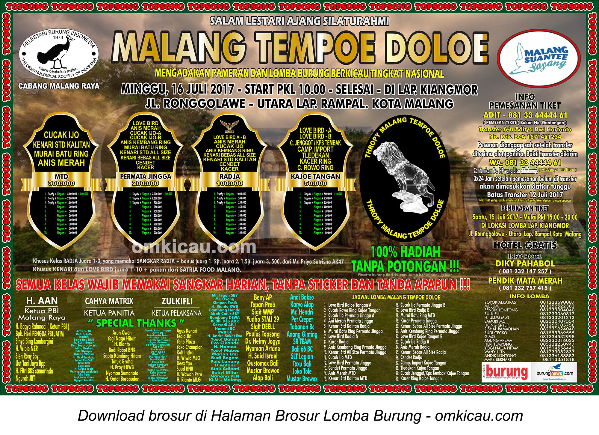 Brosur Lomba Burung Berkicau Malang Tempoe Doeloe, Malang, 16 Juli 2017