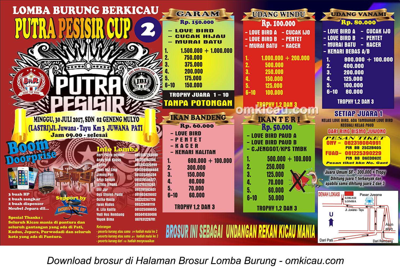 Brosur Lomba Burung Berkicau Pesisir Cup 2 Juwana, Pati, 30 Juli 2017