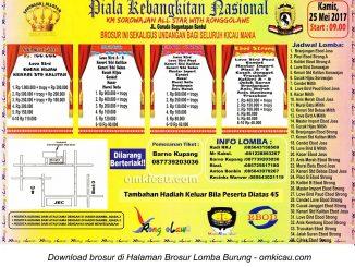 Brosur Lomba Burung Berkicau Piala Kebangkitan Nasional-Sorowajan All Star with Ronggolawe, Bantul, 25 Mei 2017