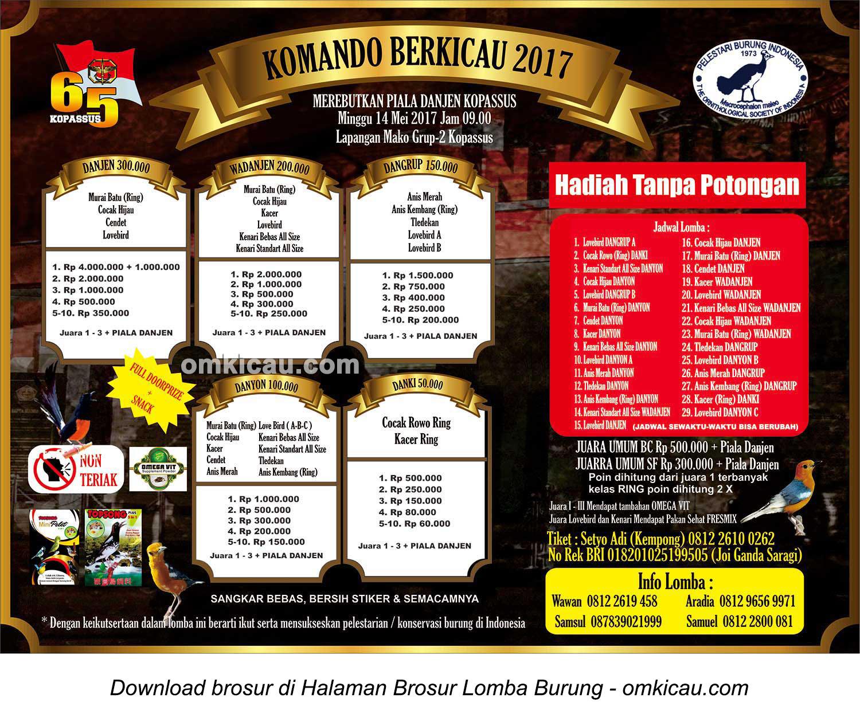 Brosur Lomba Burung Komando Berkicau 2017-Piala Danjen Kopassus, Kartasura, 14 Mei 2017