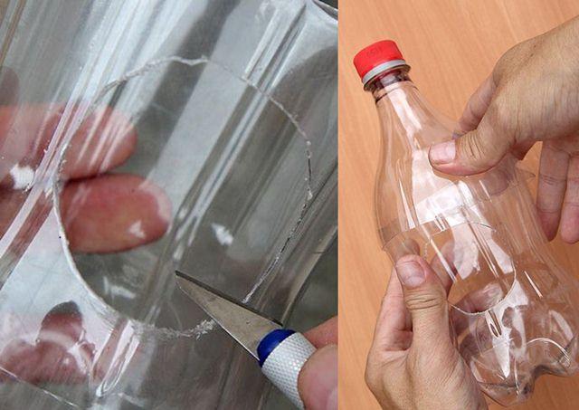 Melubangi botol untuk tempat keluar masuk burung
