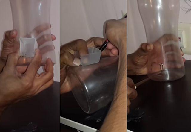 Membuat lubang di botol mengikuti ukuran sendok takar