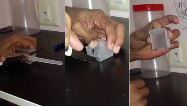 Memotong sendok takaran dengan pisau / cutter