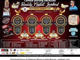 Brosur Beauty Contest Lovebird KLI Korwil Sumbar Cup I, Padang, 9 Juli 2017