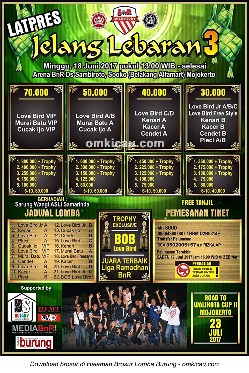 Brosur Latpres Jelang Lebaran 3 BnR Mojokerto, 18 Juni 2017