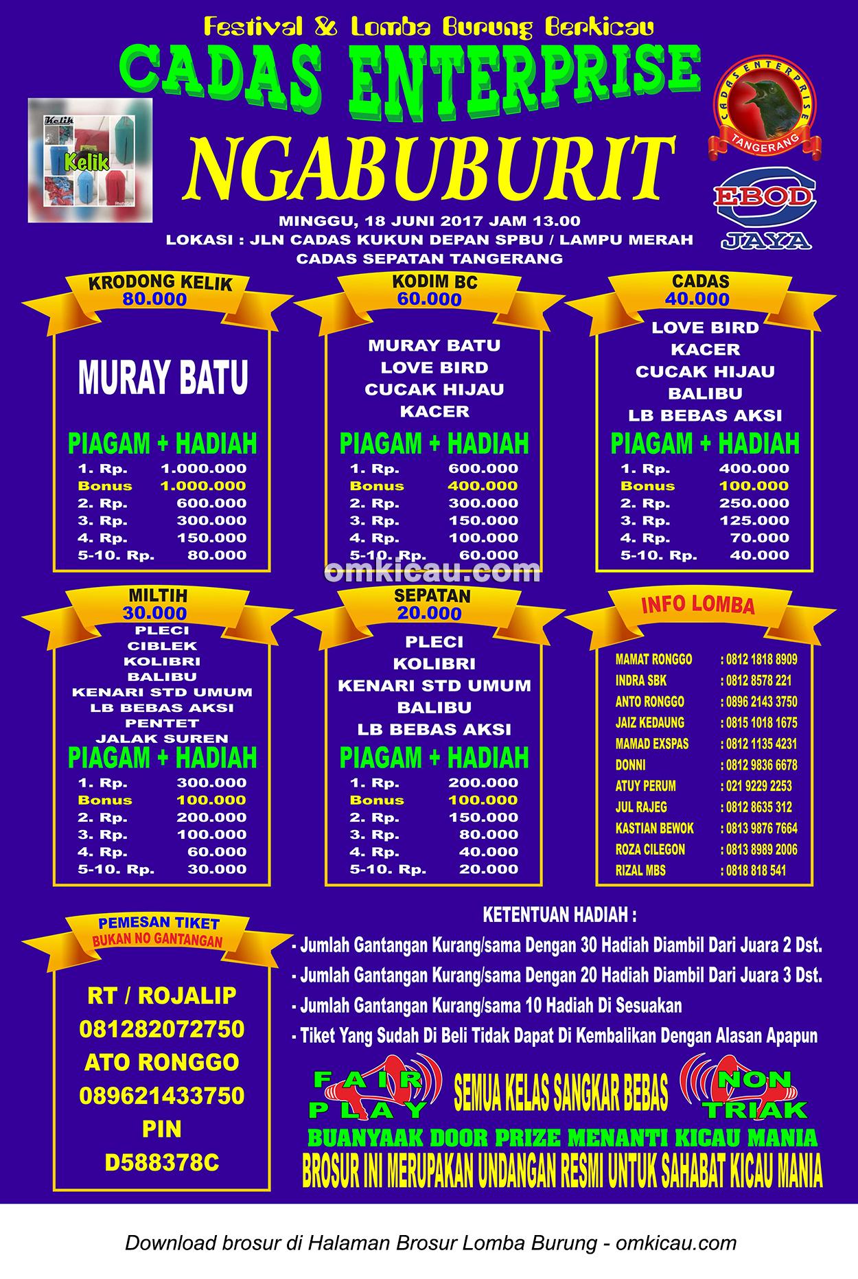 Brosur Latpres Ngabuburit Cadas Enterprise, Tangerang, 18 Juni 2017