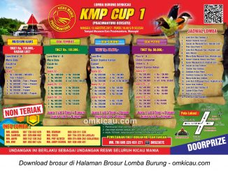 Brosur Lomba Burung Berkicau KMP Cup 1, Wonogiri, 13 Agustus 2017