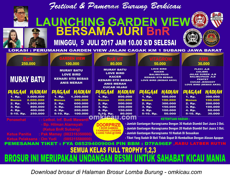 Brosur Lomba Burung Berkicau Launching Garden View bersama Juri BnR, Subang, 9 Juli 2017