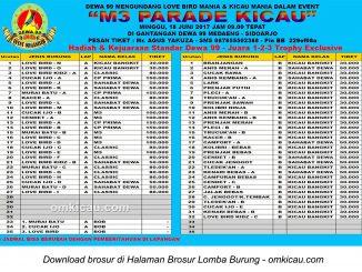Brosur Lomba Burung Berkicau M3 Parade Kicau Dewa 99, Sidoarjo, 18 Juni 2017