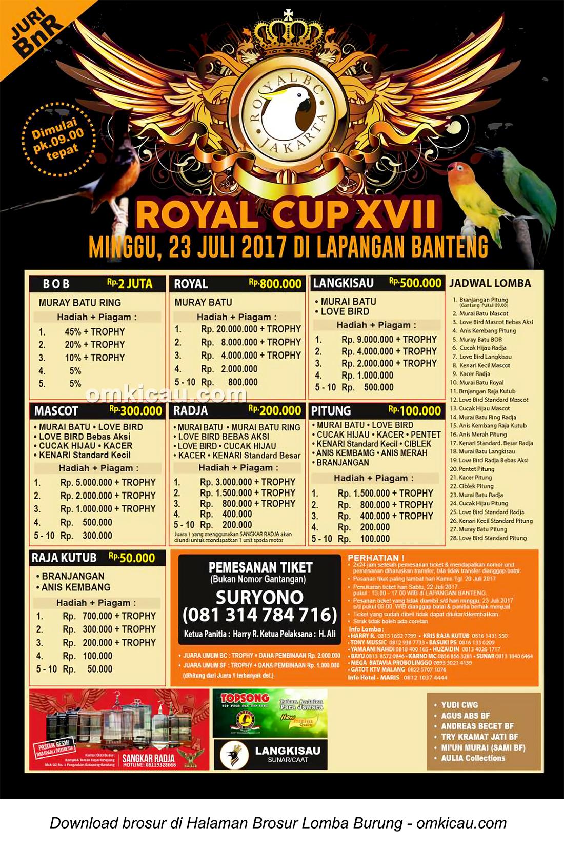 Brosur Lomba Burung Berkicau Royal Cup XVII, Jakarta, 23 Juli 2017
