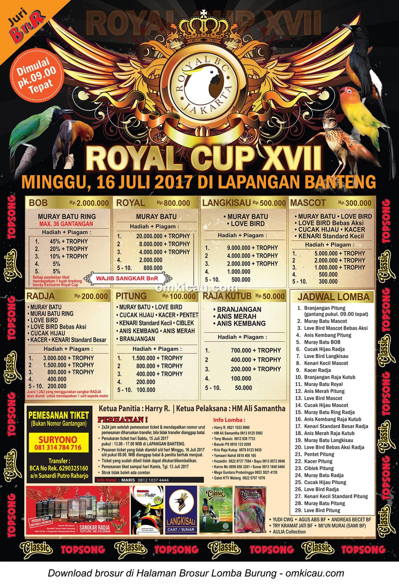Brosur Revisi Lomba Burung Berkicau Royal Cup XVII, Jakarta, 16 Juli 2017
