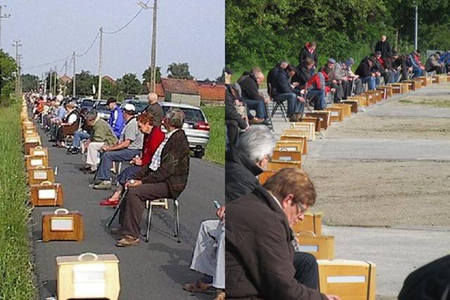 Suasana lomba burung finch di Flanders, Belgia