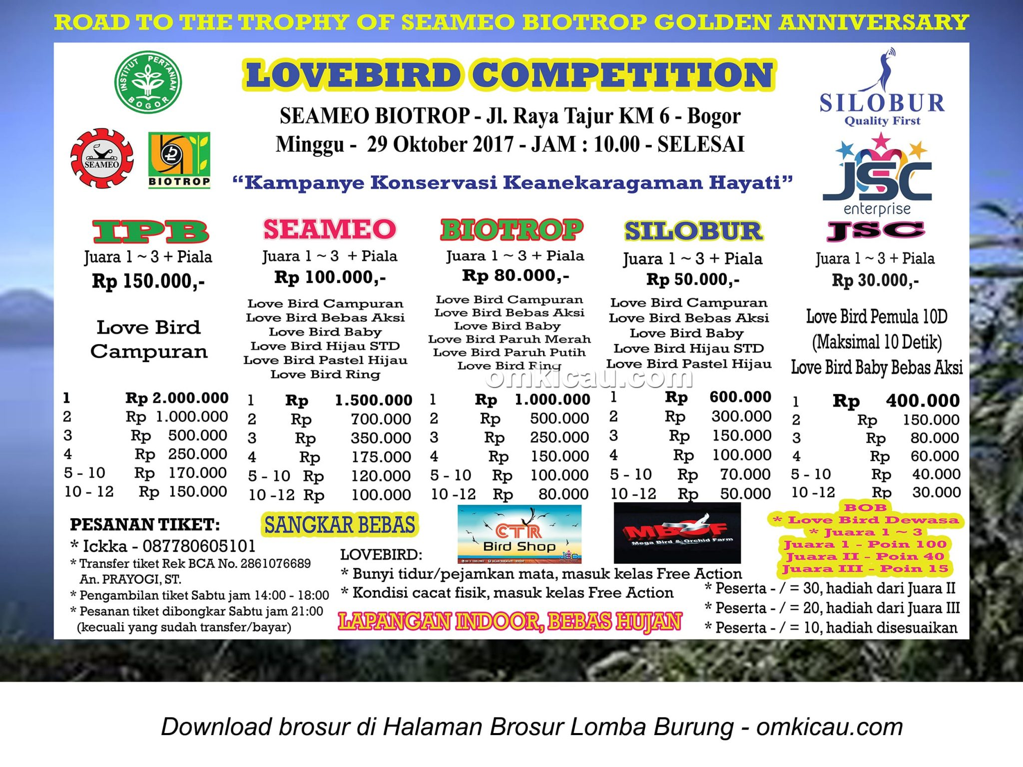 lovebird competition seameo biotrop