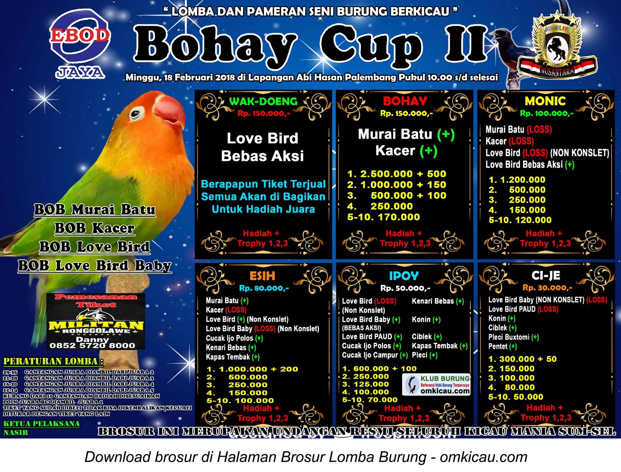 Lomba Burung Berkicau Bohay Cup Ii Di Palembang Minggu 18