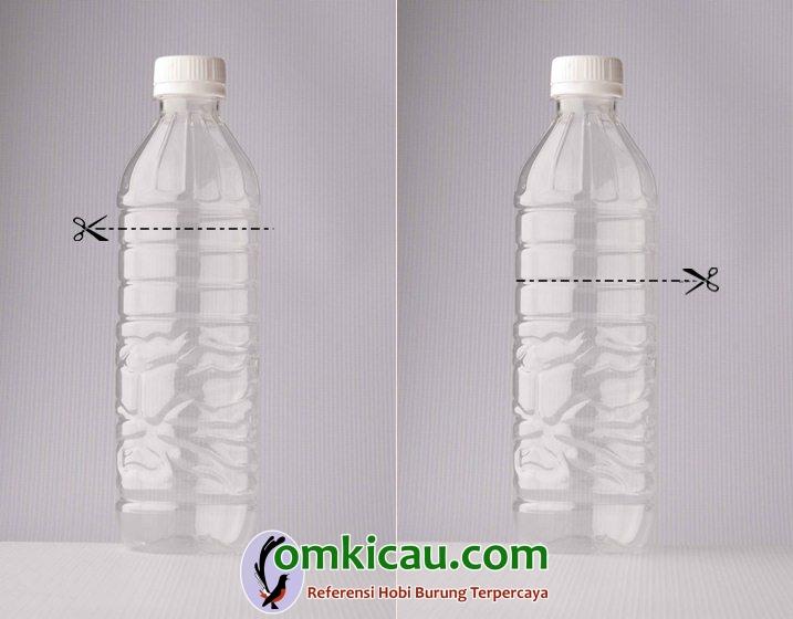 Arah potongan botol ukuran 2 liter (gambar kiri) dan arah potongan botol ukuran 1 liter (gambar kanan)
