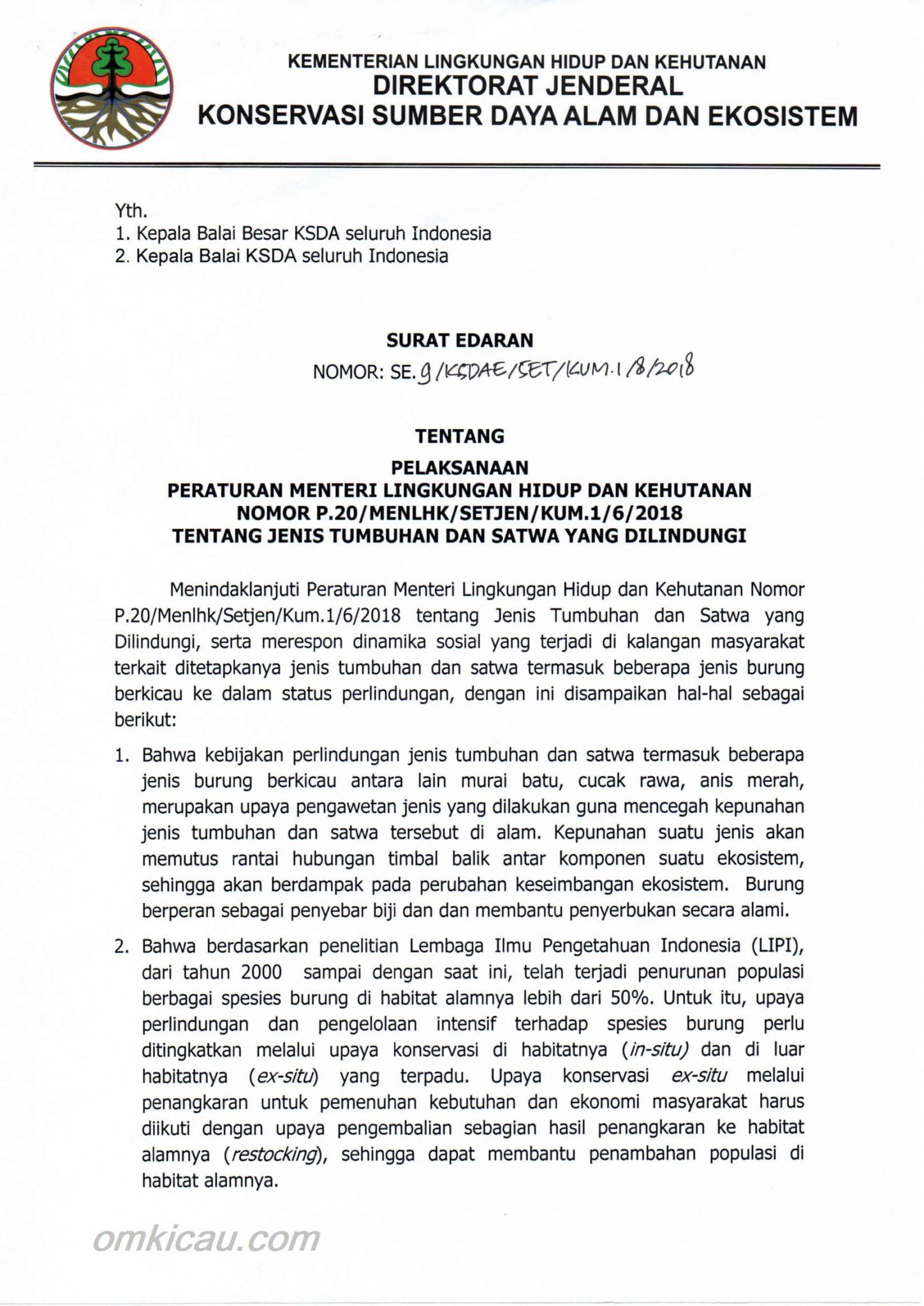 Dirjen keluarkan Surat Edaran Pelaksanaan Permen LHK No. 20/2018