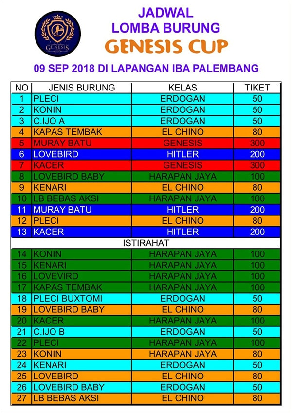 Jadwal Lomba Genesis Cup Palembang