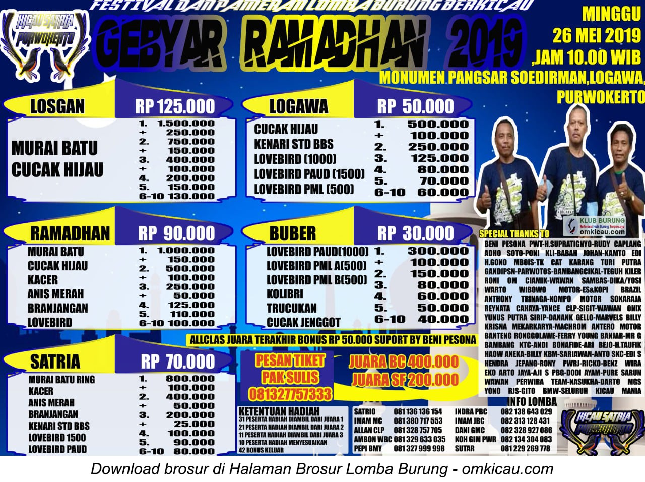 Gebyar Ramadhan Kicau Satria Purwokerto
