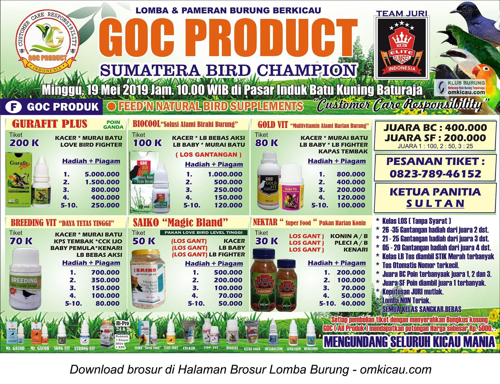 GOC Product Sumatera Bird Champion