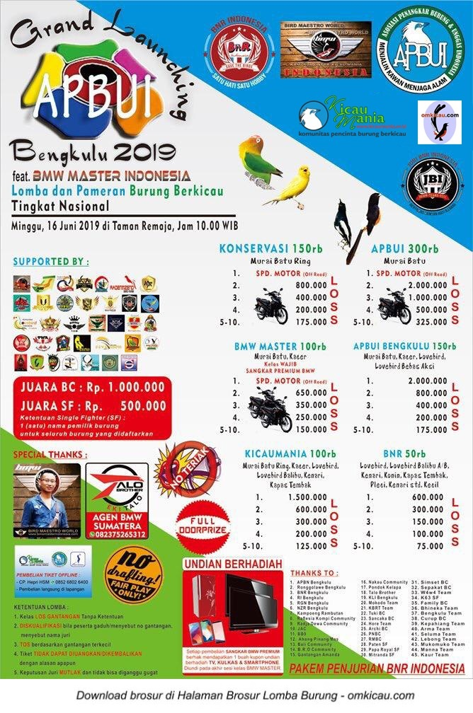Lomba Burung Grand Launching APBUI Bengkulu