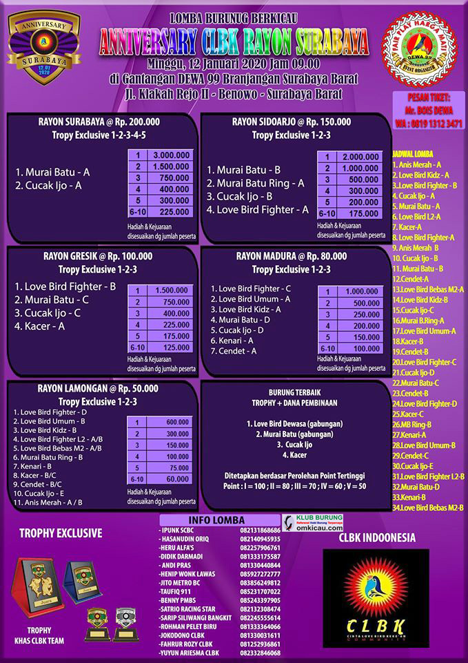 Brosur Anniversary CLBK Rayon Surabaya